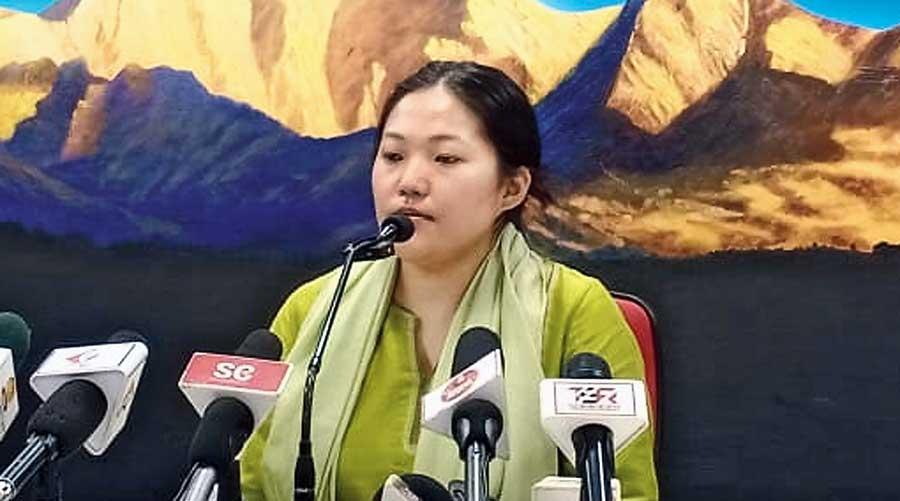 Komal Chamling in  Gangtok on Tuesday