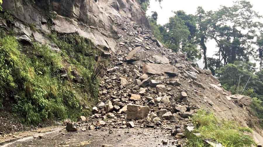 Debris on NH10 after a landslide at Hatisuray near Sevoke, Darjeeling district, on Thursday.
