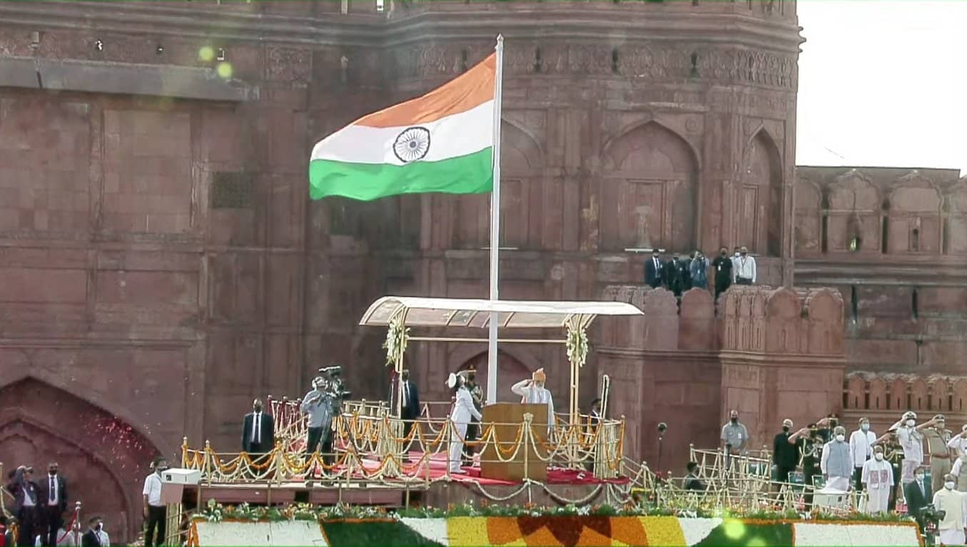Prime Minister Narendra Modi unfurls the Tricolour at the Red Fort in New Delhi on Sunday on the occasion of the 75th Independence Day of India.