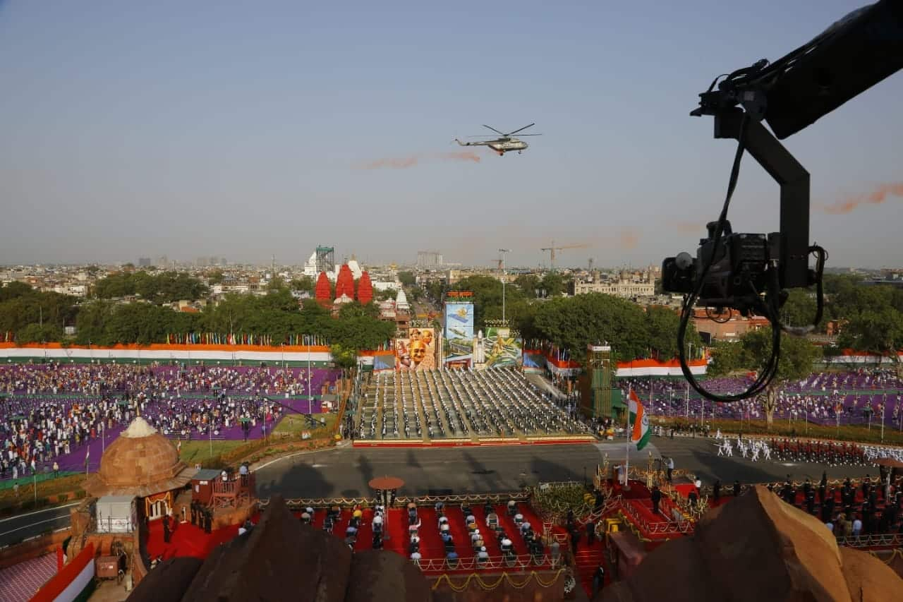 Helicopters shower flowers as Narendra Modi hoists the Indian flag. Thereafter, he delivered the customary address to the nation from the ramparts of the Red Fort.