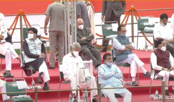 Ministers at the Red Fort on Sunday during Independence Day celebrations.