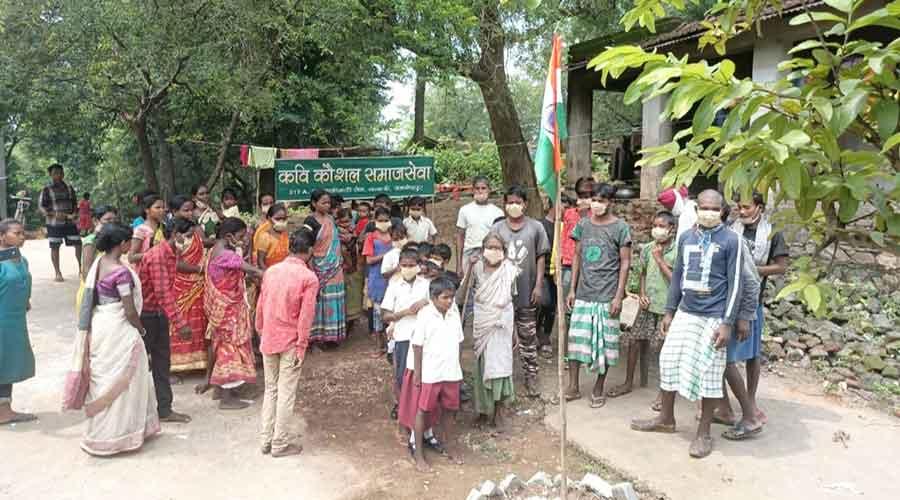 Independence Day celebration at Birhors' Patipani village on Sunday.