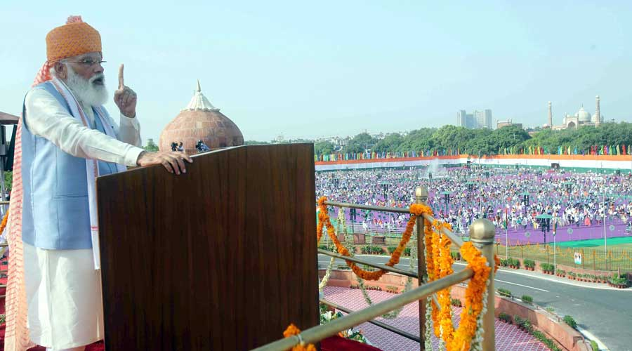 Prime Minister Narendra Modi addresses to the nation on the occasion of the 75th Independence Day celebrations at Red Fort in New Delhi
