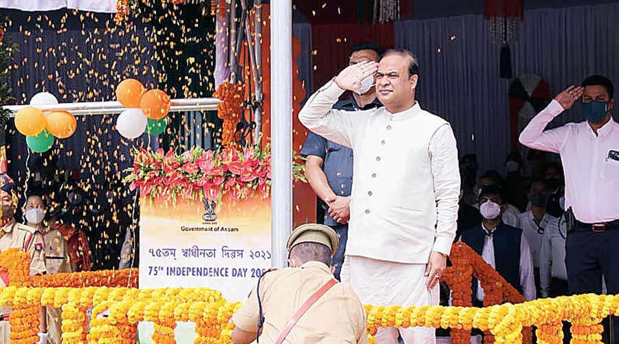 Assam chief minister Himanta Biswa Sarma attending the 75th Independence Day function at the Khanapara Veterinary College Playground on Sunday. Sarma on Sunday issued 10 appeals to the public to make the state a better place besides reiterating his plea to the proscribed United Liberation Front of Asom (Independent)  to come forward for talks. The 10 appeals include spending time with parents. Government employees to get seven days' leave to be with their parents, Sarma said