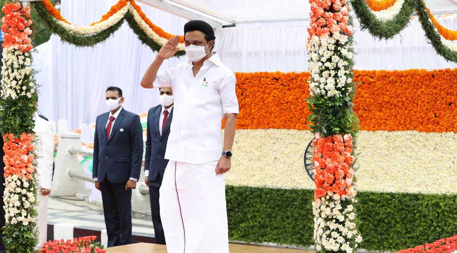 Tamil Nadu Chief Minister MK Stalin during the 75th Independence Day celebration, at the State Secretariat in Chennai