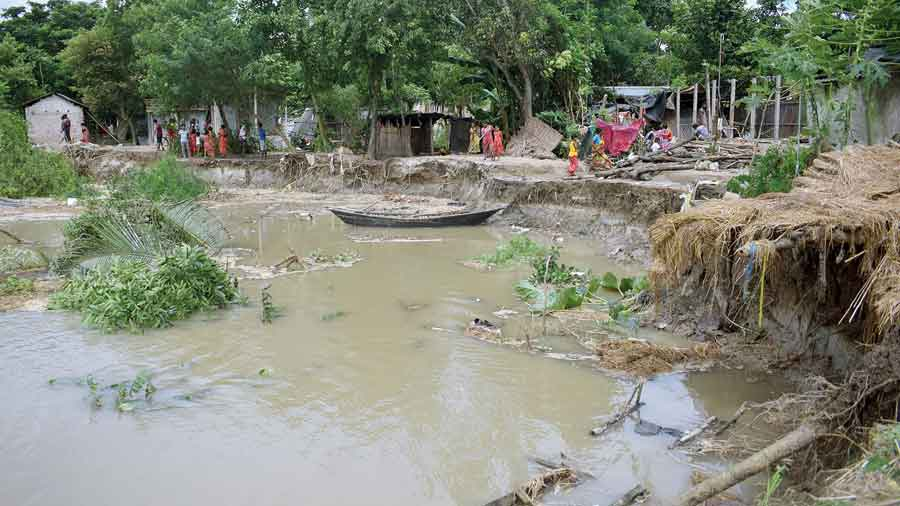 A stretch of the eroded bank of the Hooghly in Nadia's Santipur on Tuesday
