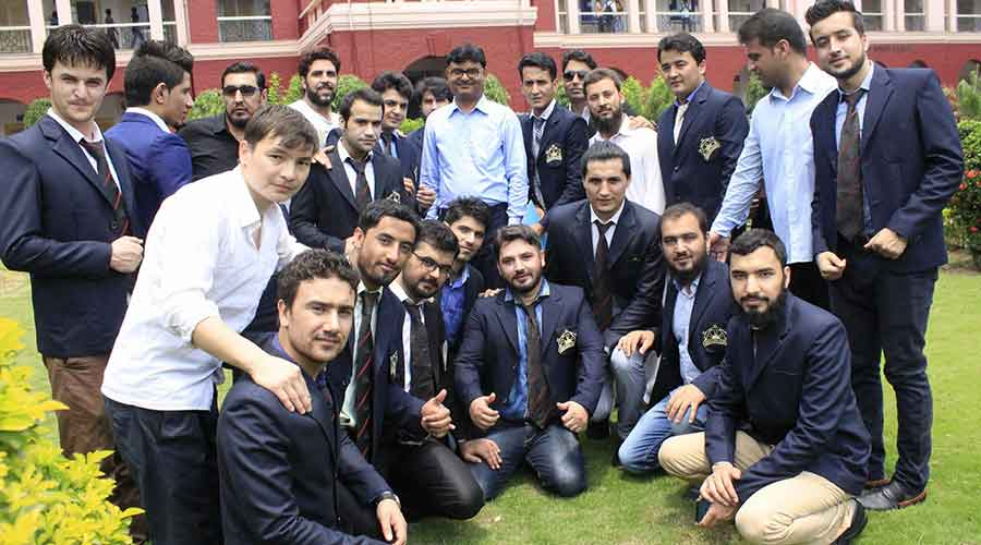 Afghan students with Dheeraj Kumar (center), Professor, Mining Engineering, IIT(ISM) Dhanbad and Dean (International Relation and Alumni Affairs) at Heritage building of IIT(ISM) campus in Dhanbad earlier.