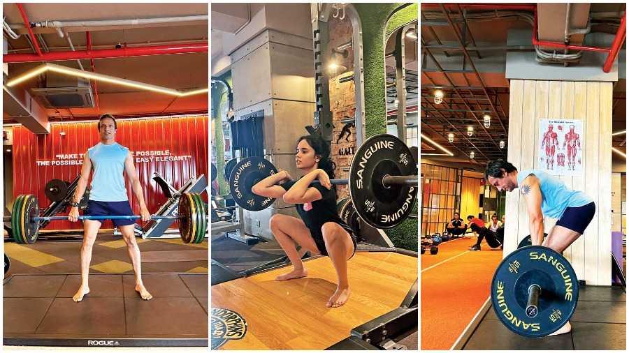 (L-R) Dead lift, Squats, Barbell row