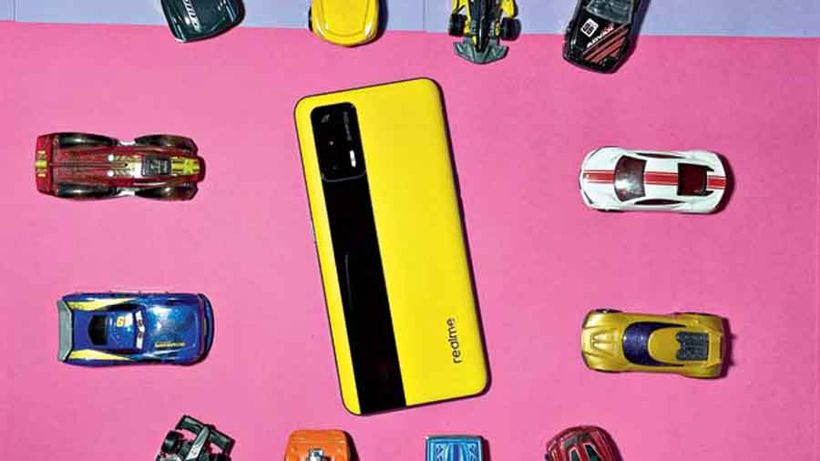 Realme GT 5G has a vegan leather finish on the back, which is different from other models.