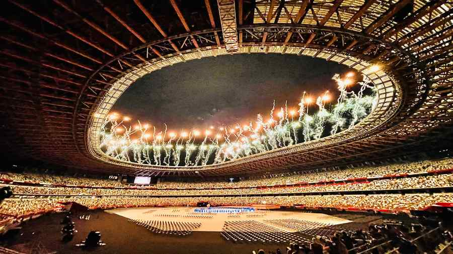 A glimpse from the Paralympics opening ceremony .