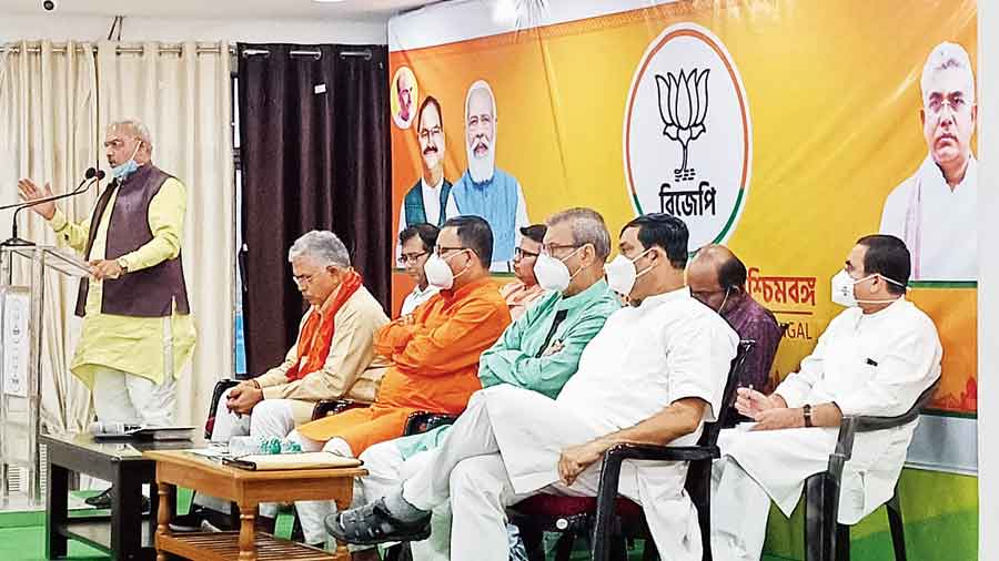 Shivprakash speaks at a BJP meeting in Calcutta on Monday