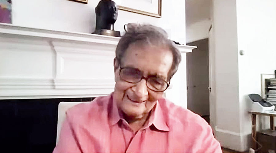 Amartya Sen at the virtual launch of his book on Saturday.