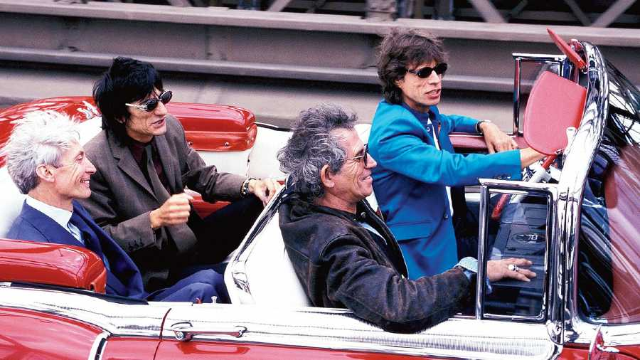 File picture of Rolling Stones during their promotion of Bridges to Babylon tour. (From left) Charlie Watts, Ron Wood, Keith Richards and Mick Jagger in a 1955 Cadillac