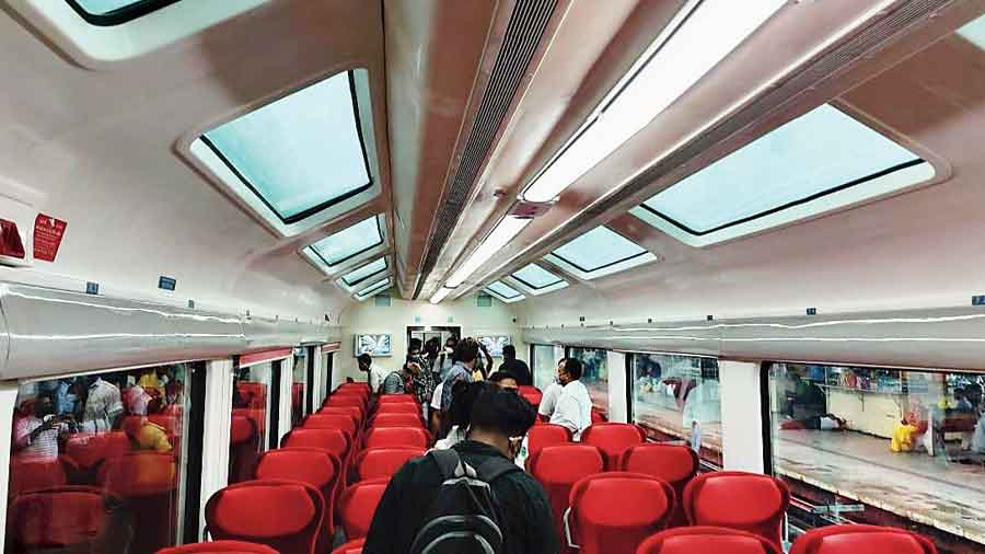 The vistadome coach of the special train that reached Alipurduar from New Jalpaiguri on Saturday.