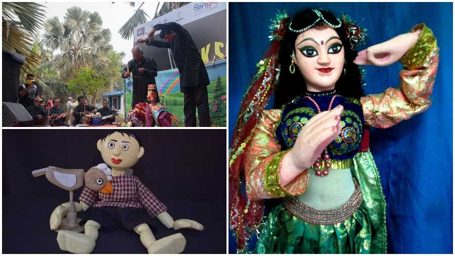 DILLY DOLLY: (Clockwise from above) A puppet circus show by Ranjan Ray; a dancer from Nirapada Mondal's collection; a character from the play Chi Chi Land by Sudip Gupta