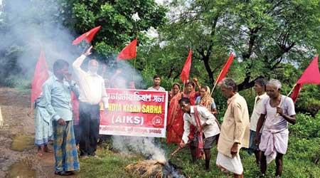 Farmers burn an effigy at Bodam near Jamshedpur on Monday.
