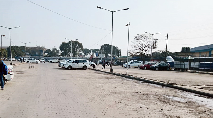 The deserted parking lot of the Bagdogra airport  on Tuesday.