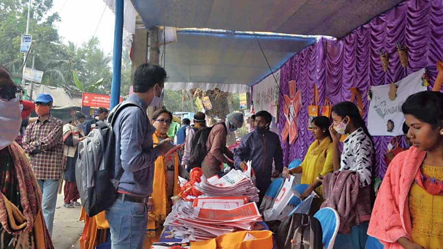 Visitors check the products during the exhibition  at Hingalganj in North 24-Parganas on January 26.