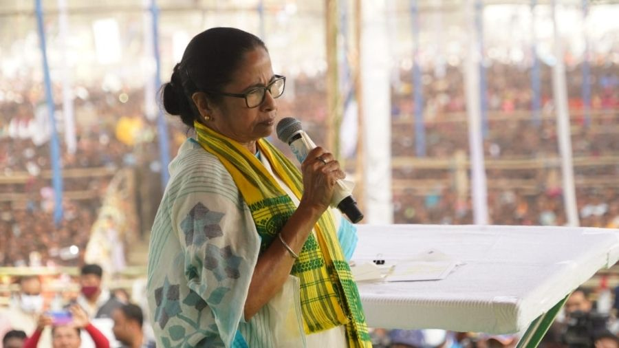 Mamata Banerjee addresses a gathering in Alipurduar on Tuesday.