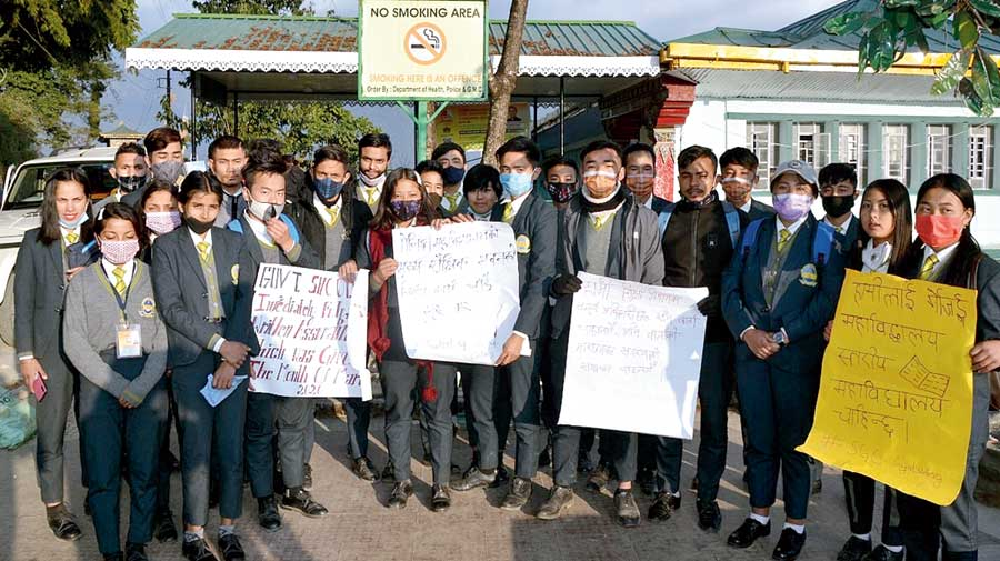 The protest by the students in Gangtok on Wednesday