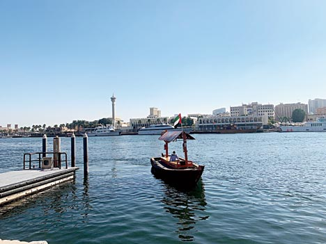 A traditional abra ferrying locals on the Dubai Creek.