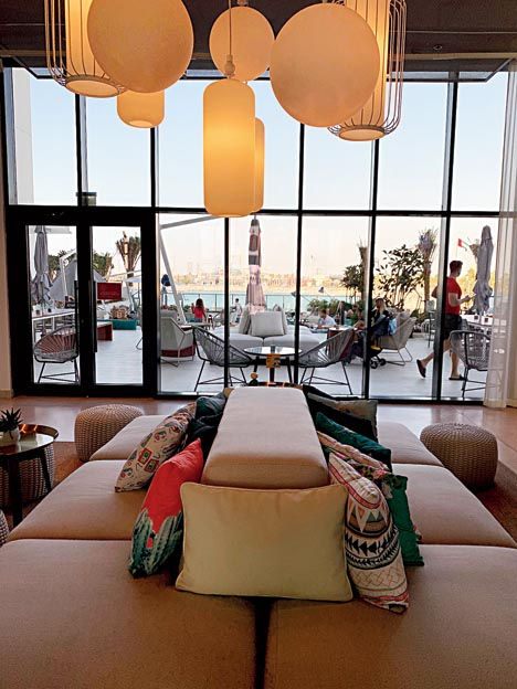 The lounge overlooking the beach from Rove at La Mer.