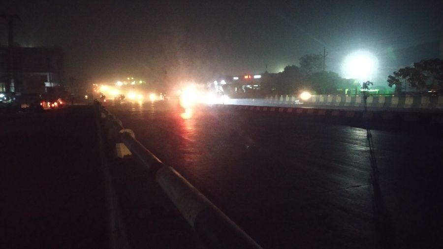 The Tata-Kandra Road on Thursday evening.