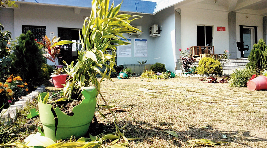 Some of the smashed flower pots on the premises of the dry port at the NJP on Thursday.
