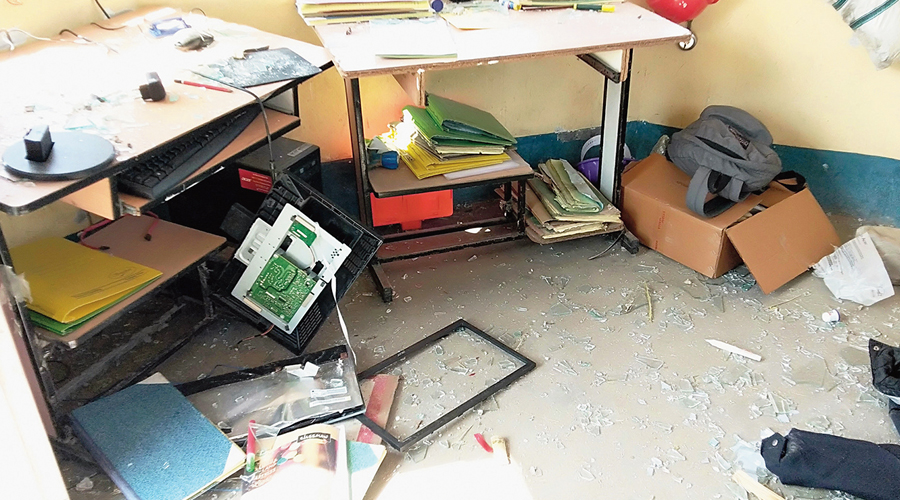 A room after the vandalism.