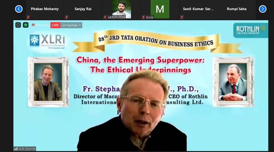 Fr. Stephan Rothlin, director of the Macau Ricci Institute and CEO of Rothlin International Management Consulting Ltd, delivers the 28th annual JRD Tata Oration on Business Ethics virtually on Saturday.