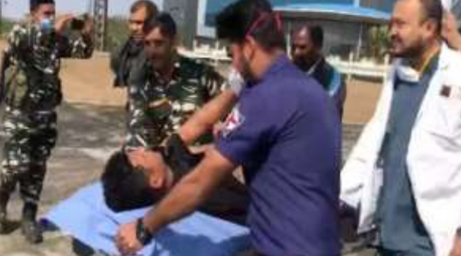The injured jawan being carried to RIMS in Ranchi on Sunday.
