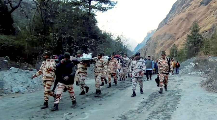ITBP personnel carry out rescue operations in Joshimath on Sunday.