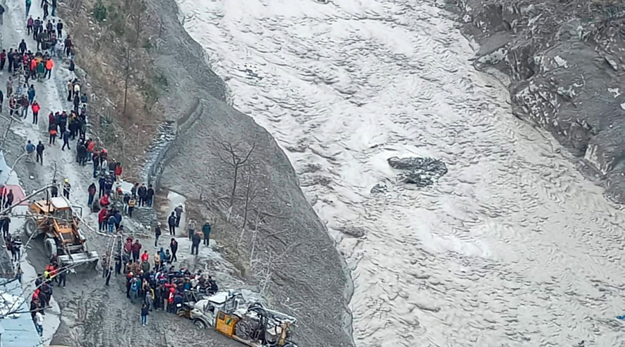 Rescue operations underway near Dhauliganga hydropower project in Chamoli district on Sunday.
