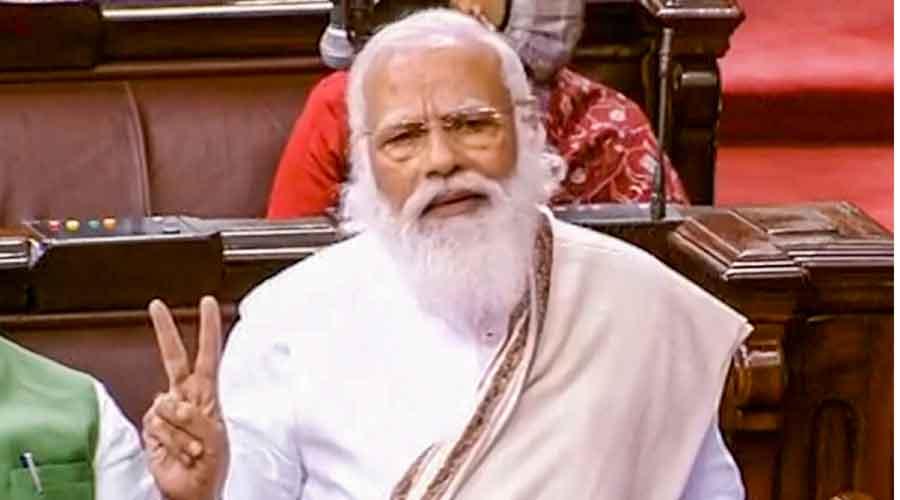 Prime Minister Narendra Modi speaks in the Rajya Sabha
