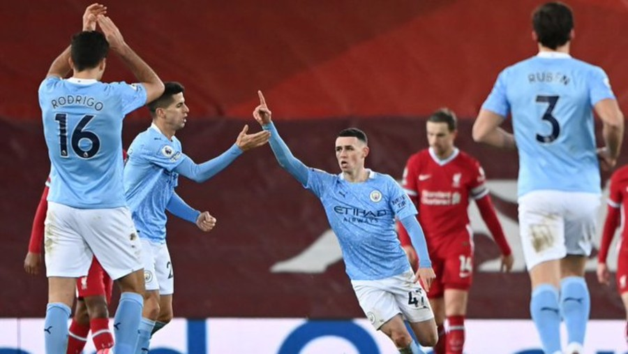 Phil Foden during the match against Liverpool at the Anfield stadium on Sunday