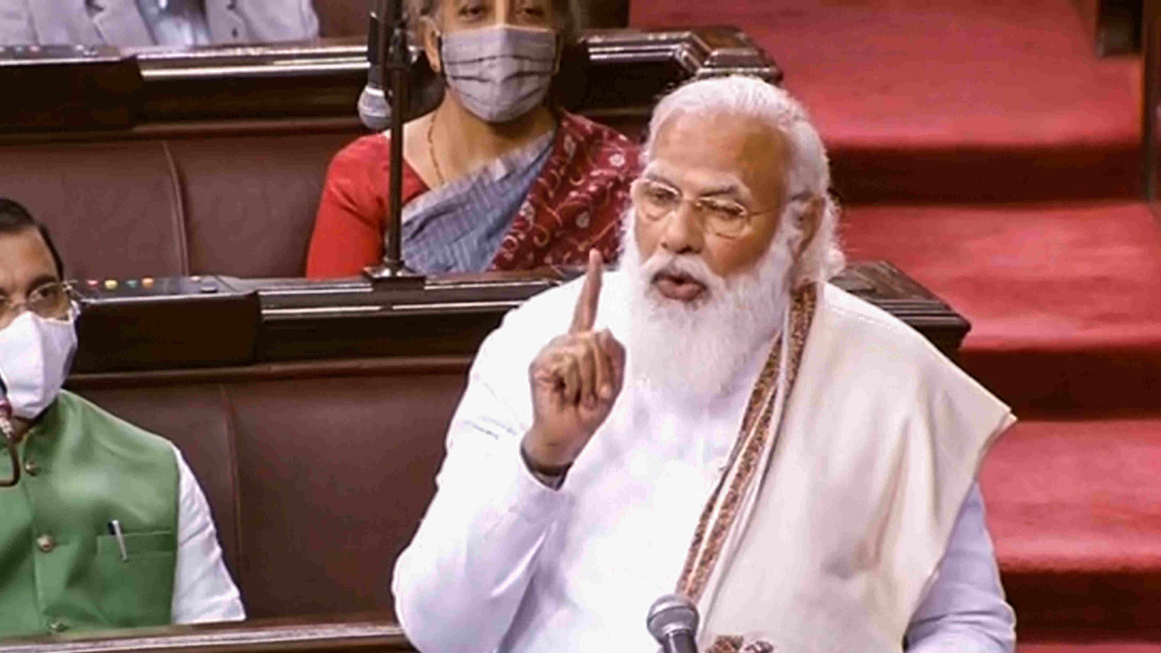 Prime Minister Narendra Modi speaks in the Rajya Sabha during ongoing Budget Session of Parliament, in New Delhi, Monday, Feb. 8, 2021.