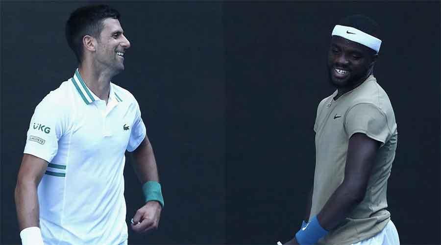 Novak Djokovic and Frances Tiafoe on Wednesday