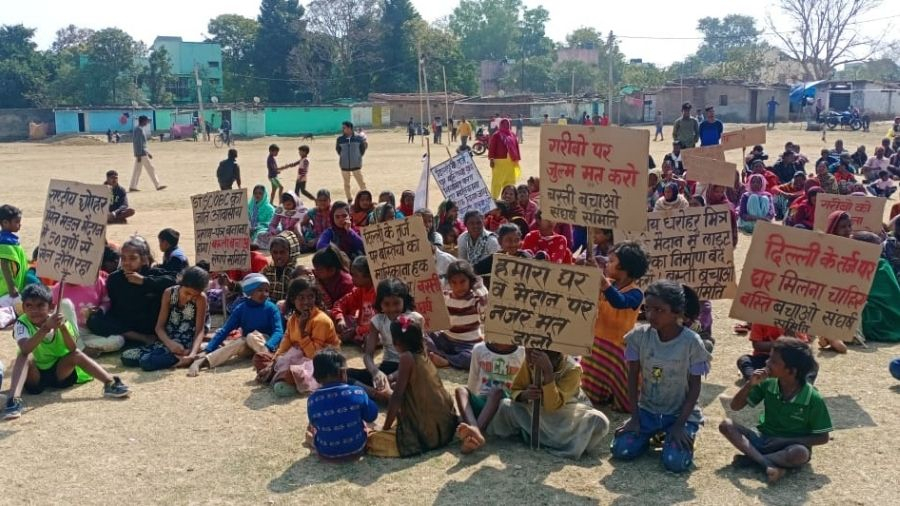 Local residents stage a protest against a Centre's housing project at Jagannathpur in Ranchi earlier this month.