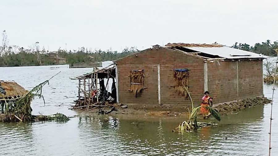 An Amphan-ravaged home in the Sunderbans