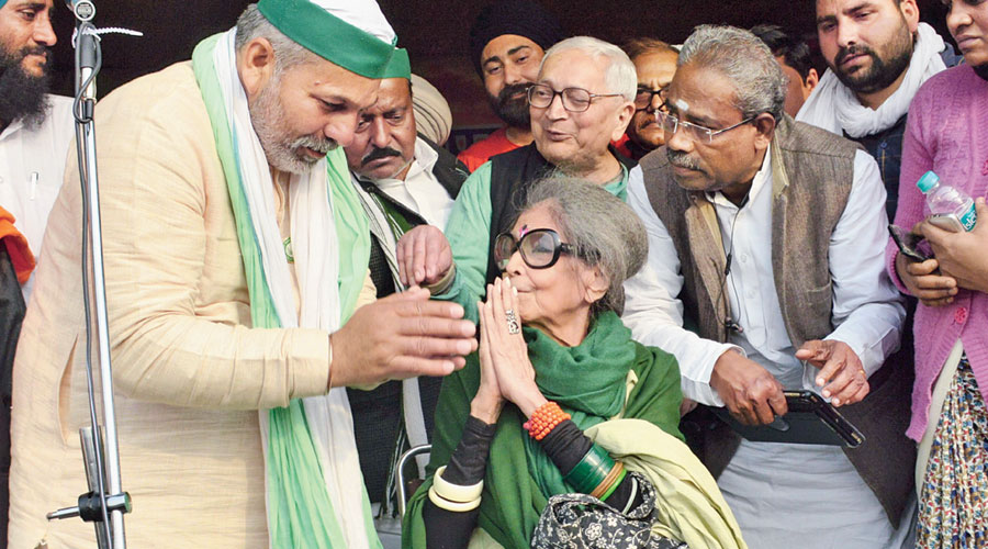Mahatma Gandhi's granddaughter Tara Gandhi Bhattacharjee visited the protesting farmers at Ghazipur on the Delhi-Uttar Pradesh border on Saturday. Bhattacharjee, 84, chairperson of the National Gandhi Museum, exhorted the farmers to remain peaceful in their protest and urged the government to take care of the  farming community.