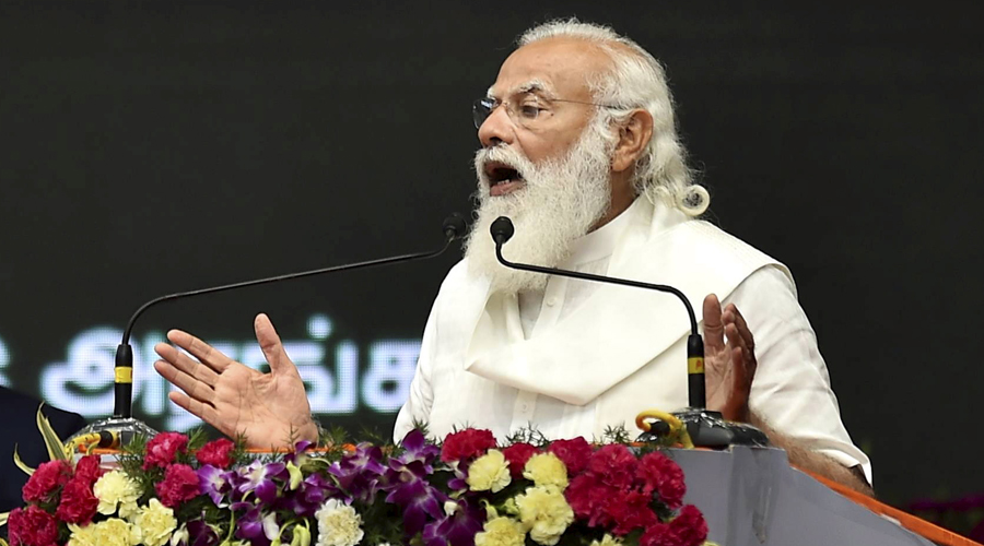 Prime Minister Narendra Modi speaks during the inauguration of Chennai Metro Rail Phase-I extension, that will link North Chennai with the Airport and Central Railway Station, in Chennai on Sunday.
