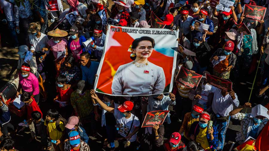Police fired tear gas and stun grenades to disperse hundreds of protesters in the main city of Yangon on Monday
