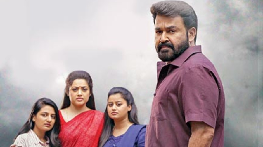 Mohanlal with his co-stars in Drishyam 2, streaming on Amazon Prime Video from today