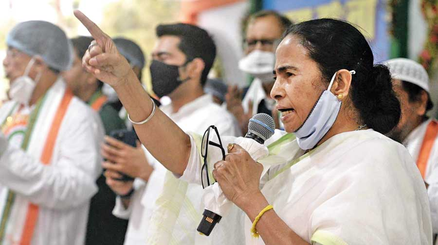 Mamata addresses the rally at Pailan on Thursday