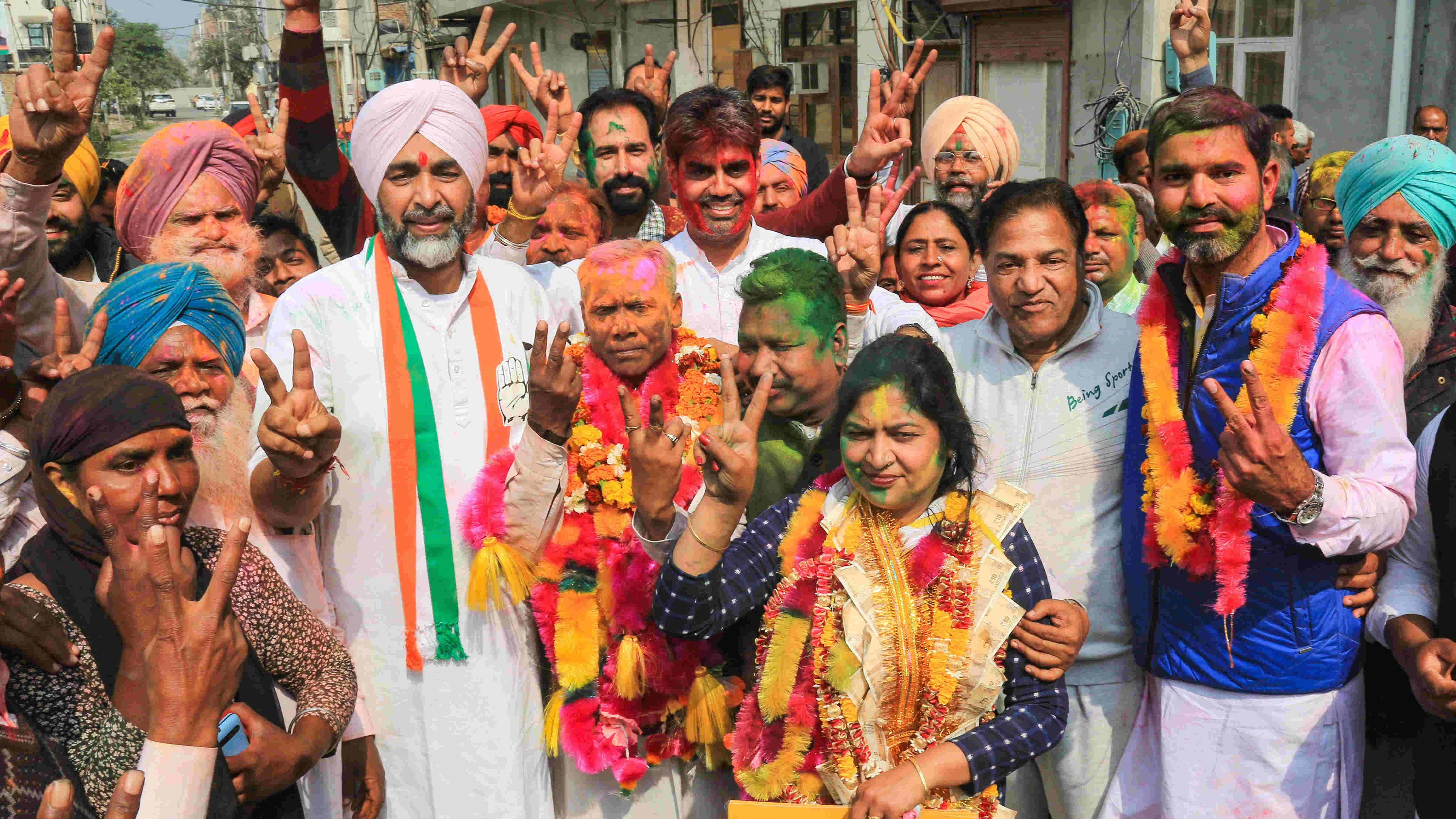 Punjab Finance Minister and Congress leader Manpreet Singh Badal meets the winning candidates of his party after the results of municipal corporation elections were declared in Bathinda, Wednesday, Feb.17, 2021.