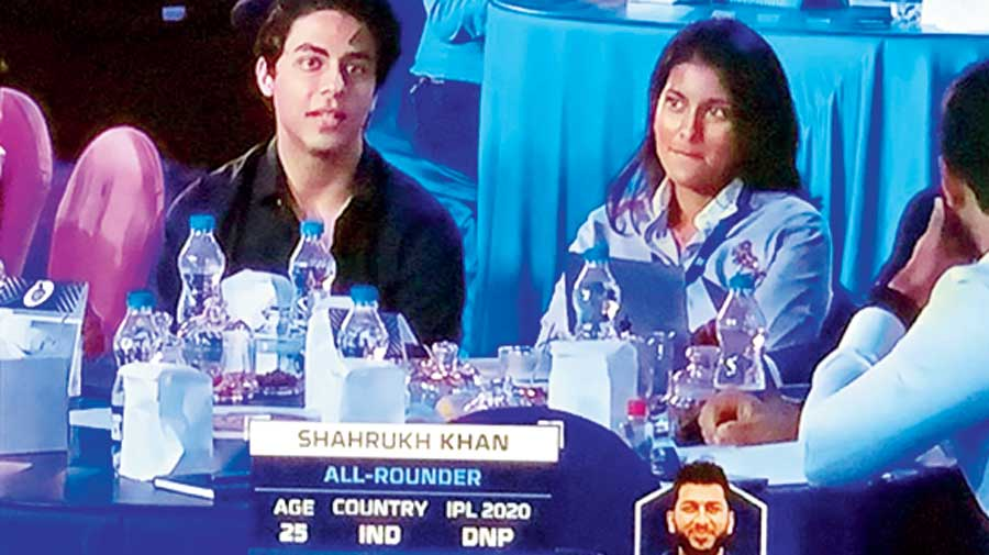 Shah Rukh Khan's son Aryan and Juhi Chawla's daughter Jahnavi Mehta during the auction in Chennai on Thursday