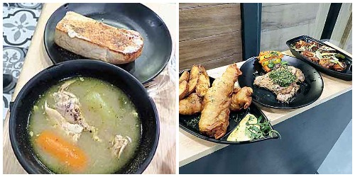 Chicken Stew. (Right) Fish and Chips and Chimichurri Steak.