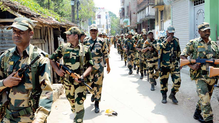 Central forces deployed for area domination undertake route marches to build confidence among people ahead of the polls