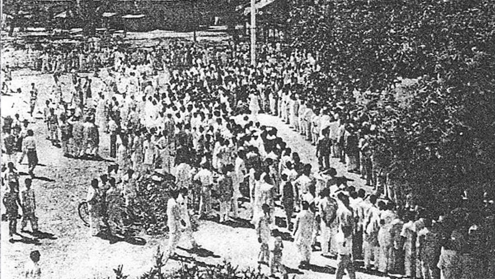 Students protesting the announcement of Urdu as the national language of Pakistan were gunned down by police in Dhaka on February 21, 1952