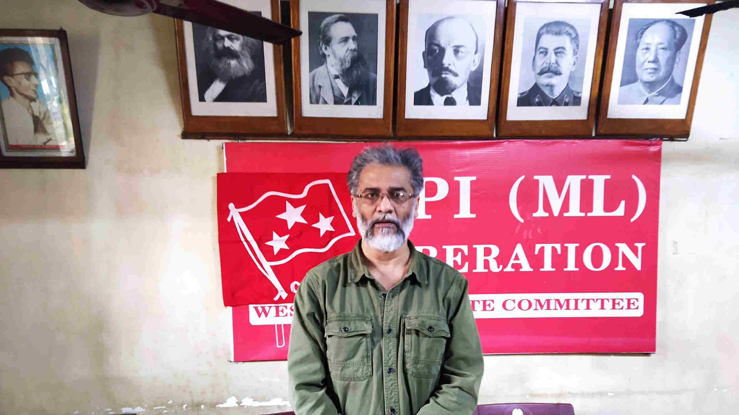 Dipankar Bhattacharya in the CPI-ML (Liberation) office in Calcutta.